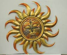 "FANCY JEWELED SUN CLOCK GOLD -BRONZE-LIKE FINISH  -2O "" DIAMETER"