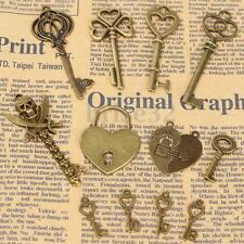 8pcs Mixed Antique Vintage Bronze Tone Key Charms Pendants Lock Jewelry Findings