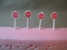 SET OF 4 N SCALE CUSTOM-MADE STOP SIGNS, NEW