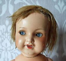 Antike Porzellankopf Puppe mit Stimme, Masse Körper Germany 342 3/0 Glasaugen