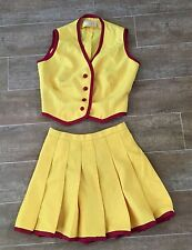S vintage Cheerleader outfit top skirt 1970s cheerleading costume XS yellow