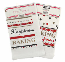 Country Club Cotton Velour Tea Towels Happy Baking Set of 3 Kitchen Drying Cloth