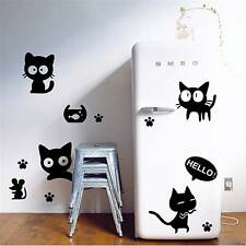 2016 Fashion Waterproof Stickers Cute Cartoon Anime Black Cat Mouse Wall Sticker