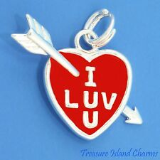 RED ENAMEL I LOVE U YOU HEART and ARROW .925 Solid Sterling Silver Charm
