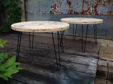 Wood Spool Coffee End Table  Vintage With Beautiful Hairpin Legs