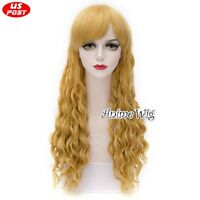 Fashion Blonde Long Synthetic 65cm Curly Cosplay Halloween Gifts Hair Wig+Cap