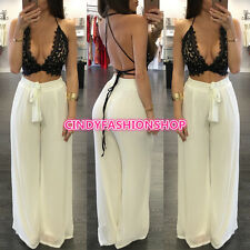 New Women Sexy Lace Crop Top Strap Trend 2PC Set Long Loose Pants Bodysuit