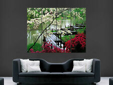 JAPAN GARDEN BEAUTIFUL FLOWERS IN BLOOM  WALL POSTER ART PICTURE PRINT LARGE