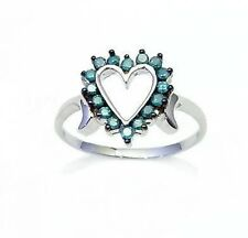 Big Value! 100% 10K White Gold Blue Diamond Heart Ring .25ct - Great Gift