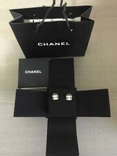 Chanel Classic Earrings Small Gold Swarovski Crystals CC Logo Authentic 2016