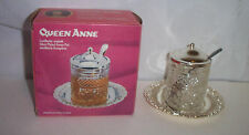 Queen Anne by Mayell & Co Silver Plated Honey Pot W/Spoon NIB Made In England