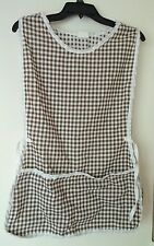 QueenBrand by Gruen APRON SMOCK brown white gingham maid costume uniform vintage