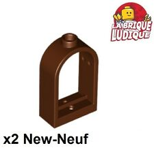 Lego - 2x window fenêtre 1x2x2 2/3 rounded top arch marron/red. brown 30044 NEUF