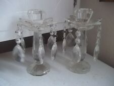 Vintage Crystal Glass FLOWER Candle Holder Candlesticks Ornate w Prisms ESTATE