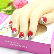 24pc 3D Wedding False Artificial Fake Nails Tips French RED Diamond Cute Finger