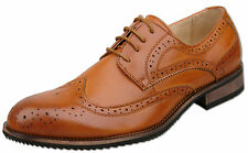 Mens Tan Brown Lace Up Formal Oxford Brogue Fashion Shoes UK Size 13