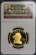 2007-W JEFFERSON'S LIBERTY PROOF $10 1/2 oz GOLD - FIRST SPOUSES ** NGC PF 70 UC