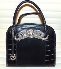Brighton Women's black Croco Leather Tote handBag purse,silver details, $385