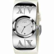 ARMANI EXCHANGE LADIE'S SIGNATURE WHITE LEATHER WATCH AX3063