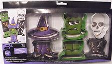 NEW 7 Wilton Halloween Cookie Cutters Metal Witch Frankenstein Skeleton NISB