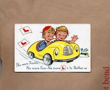 Comic Card by Mollie grey Learner Drivers posted 1960 Keswick xc1