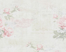 Papier Tapete AS DJOOZ 95667-1 Landhaus Rosen poetische Texte Beige Grün Rosa