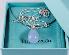 "Tiffany & Co Paloma Piccaso 20 Carat Blue Chalcedony Pendant 18"" Silver Necklace"