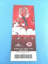 St Louis Cardinals vs Cincinnati Reds Ticket w/Stub Tuesday 10/02/2012