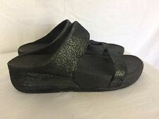 FitFlop Fit Flop Double Strap Metallic Sandals Size 6 Black Shimmery Soft