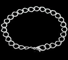 6 Pcs Silver Plated Link Chain Charm Bracelet With Lobster Claw Clasp 20cm Z158
