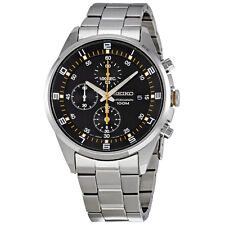 Seiko Black Dial Stainless Steel Chronograph Mens Watch SNDC89