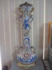 "Large Hand Painted France Majolica Pottery Vase Lamp, Marked ""SC"", 30"" Tall"