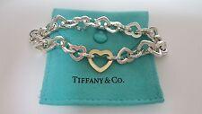 Tiffany & Co. 925 Sterling Silver 18k Yellow Gold Open Heart Link Bracelet 8''