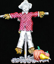 JJ PEWTER FALL AUTUMN PUMPKIN PATCH GOURD THANKSGIVING SCARECROW PIN BROOCH 2.5""