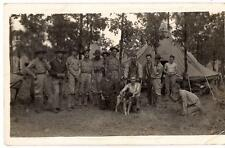 Young Men US Army Soldiers Bird Dog Man w/Camera Tents Vtg 1930s Photo Postcard