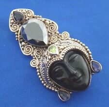 SAJEN Hand Crafted Sterling Silver Mix Stone Pin Pendant Black Onyx Goddess Face