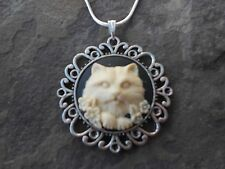 KITTY CAT CAMEO NECKLACE PENDANT (cream/black) 925 PLATE CHAIN- QUALITY!!!