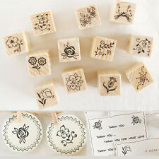 12Pcs Wooden Rubber Stamp Flower Lace Handwriting Floral Scrapbooking Craft
