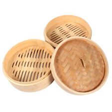 2 Tiers 8 Inch Bamboo Steamer Dim Sum Basket With Lid Healthy Kitchen Supplies