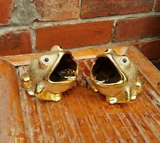 Frog ashtray Vintage Retro Toad GOLDEN GLAZED Collectable ceramic Kitsch cute