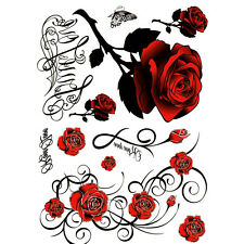 1XNEW Tattoo Skull Rose Temporary Body Arm Stickers Removable Waterproof HOT QE