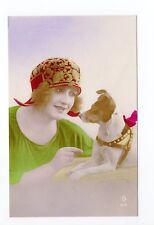 Animal CHIEN Chiens DOG dogs 19 carte fantaisie jeune fille chapeau chien