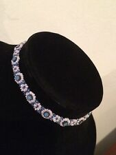 Pretty Peyote Stitch Flower Seed Beaded Blue & White Choker Necklace #A51