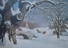 Winter Horse Sleigh White Winter,by Paul Detlefsen       Christmas vintage art