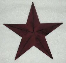"12""  Antique Burgundy Barn Stars, Primitive, Country, Metal Star"