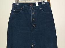 Vintage~SASSON~Dark Wash~4 BUTTON~Blue Jeans~HIGH WAIST~13/14~Actual 30 x 30~EUC