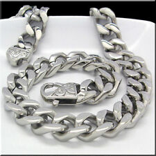 316L Stainless Steel Silver Cuban Curb Chain Necklace 12mm 24'' For Men Jewelry