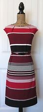NWT $79.99 ILE NEW YORK Red/Black/White Stripe Knit Sheath Dress w Belt Women 14