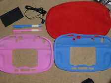 NINTENDO WII U GAMEPAD ACCESSORY SET Lot Game Pad Silicon Cover Case Stylus Bag