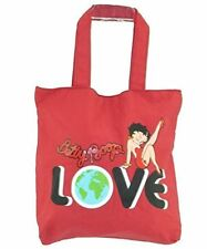 Betty Boop Fashion Jeans Cotton Tote Bag Purse Red Love Sexy Button Enclosure